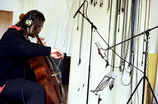 violoncellist and composer wolfgang zamastil during recording session - in me­mo­ri­am